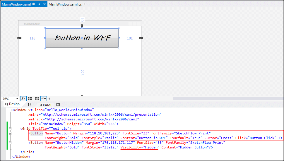Button - WPF Tutorials step by step-code-snippet