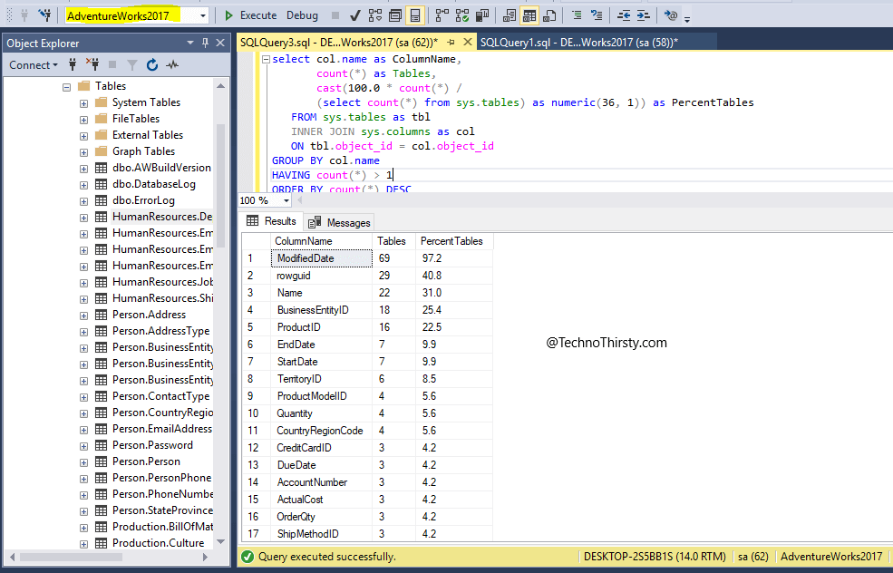 Find-most-used-column-names-in-database