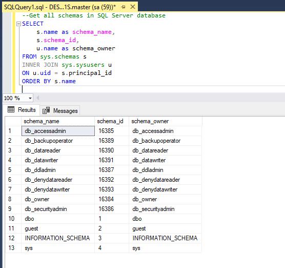 Get all schemas in SQL Server database-image