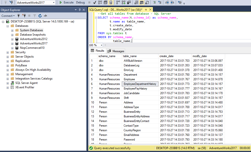 Get all tables from database - SQL Server